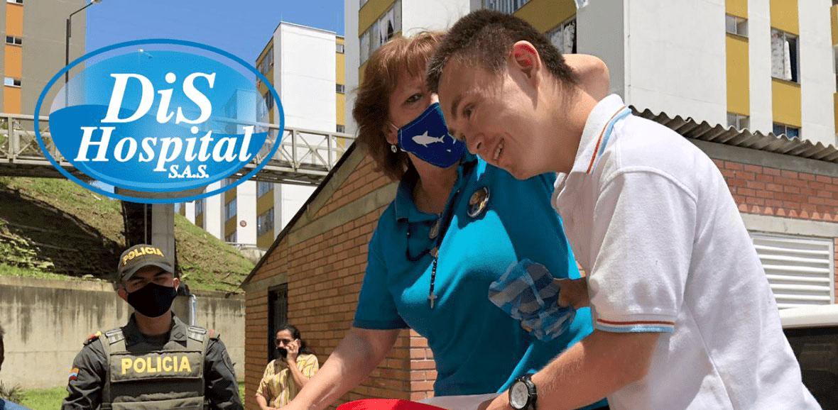 La familia DisHospital entrega 140 mercados en Lebrija, Santander. Acto de responsabilidad social frente a la pandemia